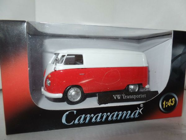 Cararama 4-60342 1/43 O Scale Volkswagon VW Transporter T1 Van Red & White